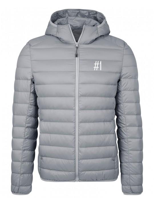 nadine angerer | hooded down jacket | men`s cut | light grey